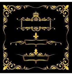 Set of ornate golden royal frames black background vector image