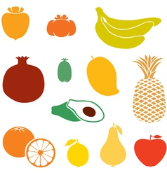 Silhouette fruits vector