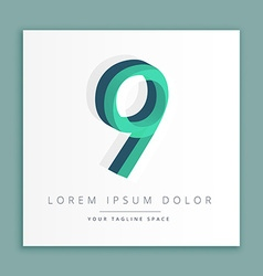 3d abstract style logo with number 9 vector