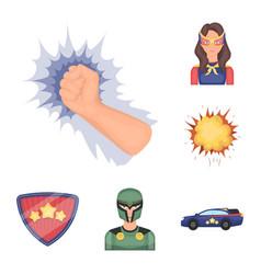 A fantastic superhero cartoon icons in set vector