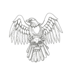 american eagle clutching skull doodle vector image