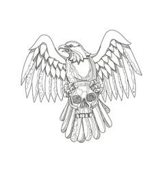 American eagle clutching skull doodle vector