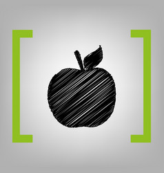 apple sign black scribble vector image