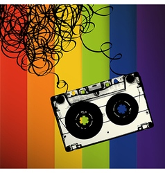 Audiocassette tape with tangled on rainbow stripes vector