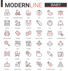 baby care flat web icon set vector image