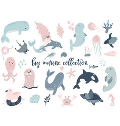 big set of marine animals perfect for baby prints vector image