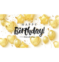 birthday elegant greeting card with gold vector image