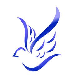 blue bird on white background vector image