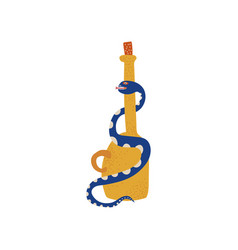 bottle and snake boho style design element vector image