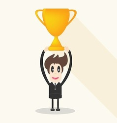 Businessman holding winning trophy long shadow vector