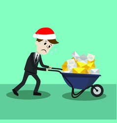 Businessman or manager in christmas hat finding vector