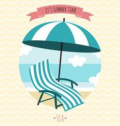 Card with beach armchair and umbrella Summer time vector