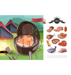 cartoon bbq party concept vector image