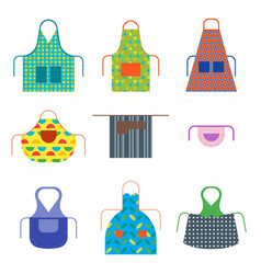 cartoon cooking aprons color icon set vector image