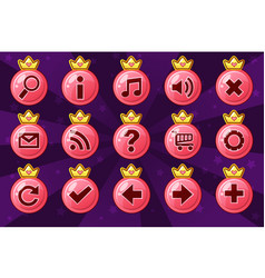 cartoon set circle princess girlis style buttons vector image