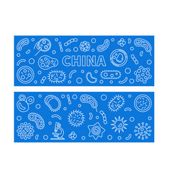 china viruses concept linear blue banners vector image