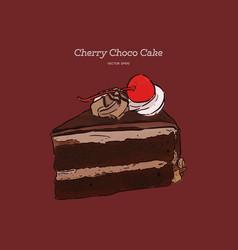 chocolate cherry cake hand draw sketch vector image