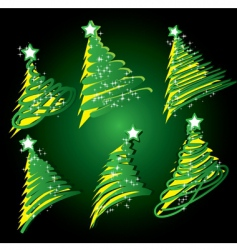 Christmas tree sketch set vector image