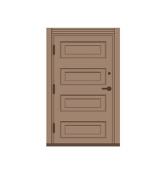 classic wooden entrance door closed brown elegant vector image