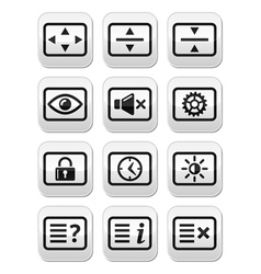 Computer tv monitor screen buttons set vector