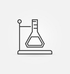 Conical flask holder outline icon in thin vector