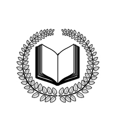 Crown of leaves with open book in blank vector