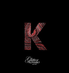 curly textured letter k vector image