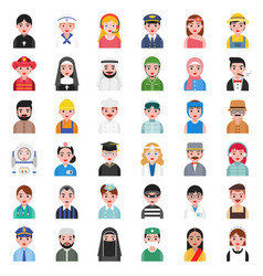 Cute avatar of people in various professional vector
