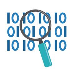 Data analysis magnifying glass binary digital vector