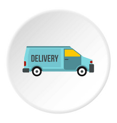 Delivery van icon circle vector