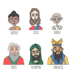 Different confession and religion famous men vector