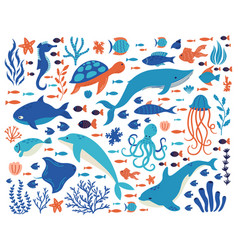 Doodle underwater animals ocean creatures hand vector