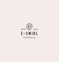 e letter swirl round logo hipster vintage retro vector image