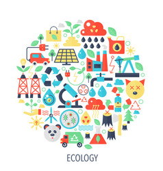 Ecology green energy flat infographics icons in vector