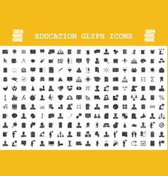 education glyph icons big set school college vector image