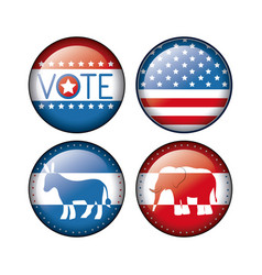 Elephant and donkey of vote inside buttons concept vector