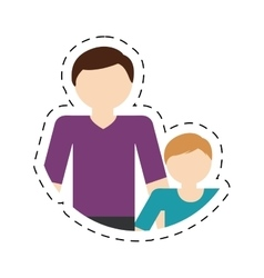 Family father child son togetherness cut line vector
