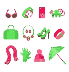 Feminine accessories icons set vector image