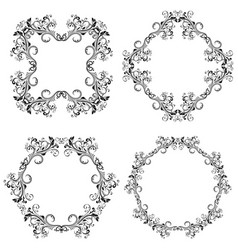 Floral decorative filigree frames black ornaments vector
