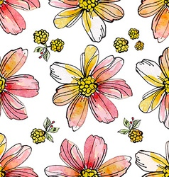 floral seamless texture watercolor vector image