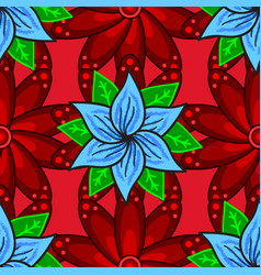 flowers on red blue and green colors floral vector image