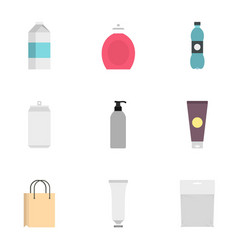Food drink cosmetic package icons set flat style vector