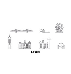 France lyon line travel skyline set france lyon vector