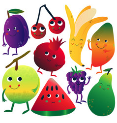 funny fruits cartoon characters with funny faces vector image