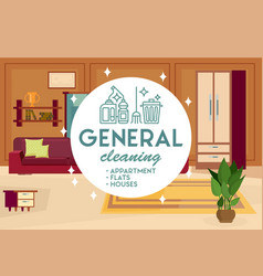 general cleaning apartment vector image