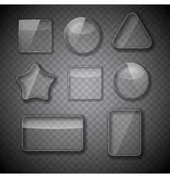 Glass frame rectangular star and round buttons vector