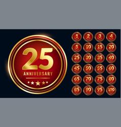 Golden circular anniversary labels set vector