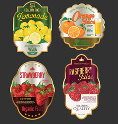 Golden labels for organic fruit product vector