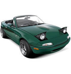 green two-seater roadster with open headlights vector image