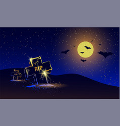 Halloween night banner with neon graveyard view vector
